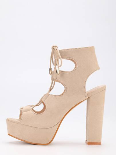 Apricot Lace-Up Chunky Block Heel Pumps