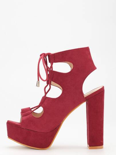 Maroon Lace-Up Chunky Block Heel Pumps