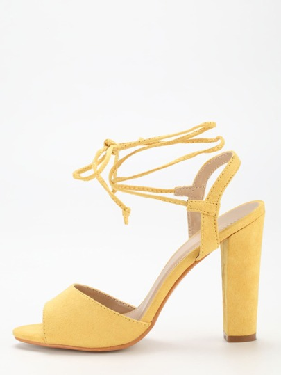 Yellow Ankle Lace-Up Block Heel Sandals