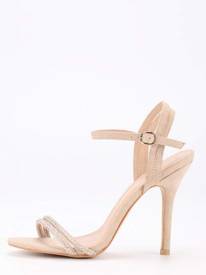 Apricot Ankle Strap Heeled Sandals