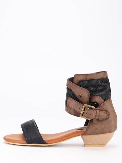 Strppy Buckled Ankle Cuff Sandals - Black