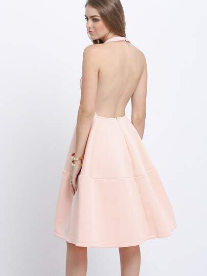 Deep V Neck Backless Flare Dress