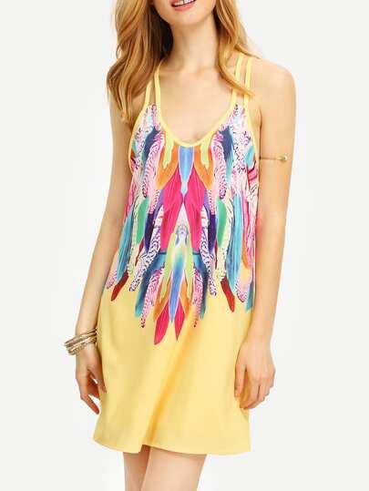 Multicolor Feather Print Spaghetti Strap Beach Dress