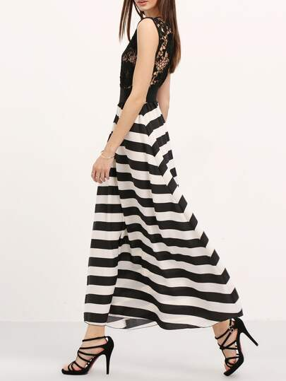 Contrast Semiformal Floaty Lace Hollow Striped Maxi Dress