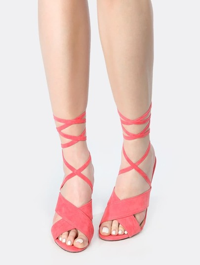 Backless Lace Up Faux Suede Heels CORAL
