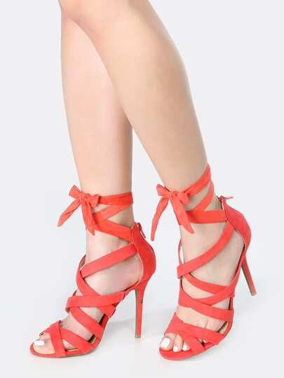 Wrap Up Faux Suede Stiletto Heels HOT CORAL