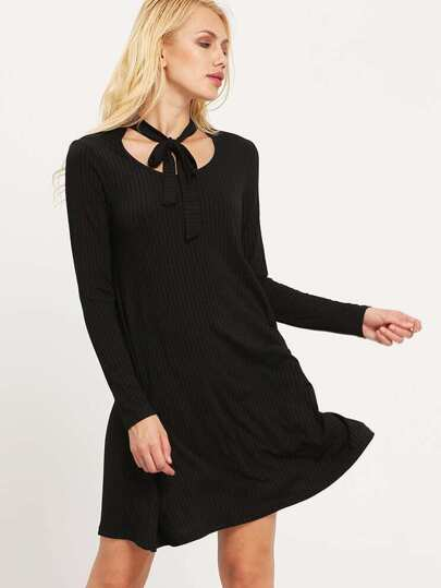 Black Scoop Neck Ribbed Dress