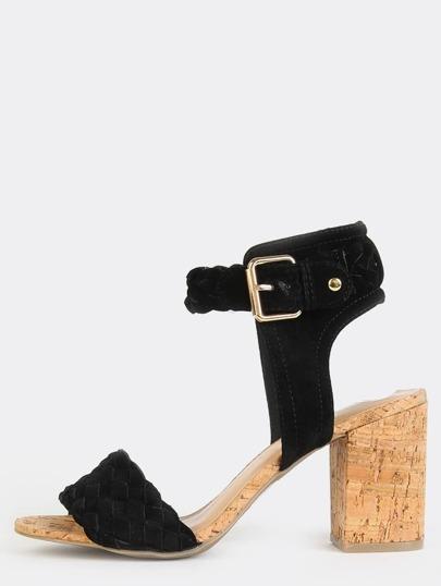 Woven Cork Chunky Heels BLACK