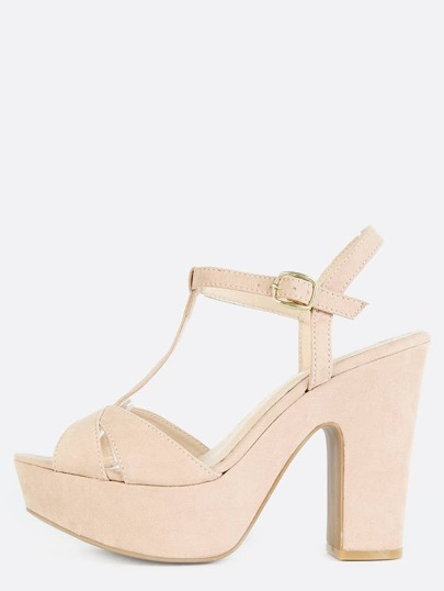 Platform T-Strap Chunky Heels NUDE