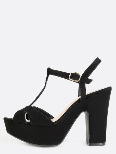 Faux Suede Platform T-Strap Heels BLACK