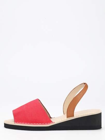 Wide Strap Wedges - Red Denim
