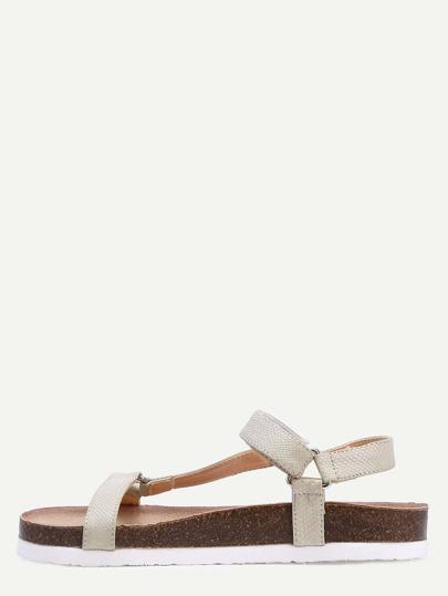 Sandales en similicuir cheville brassards - kaki