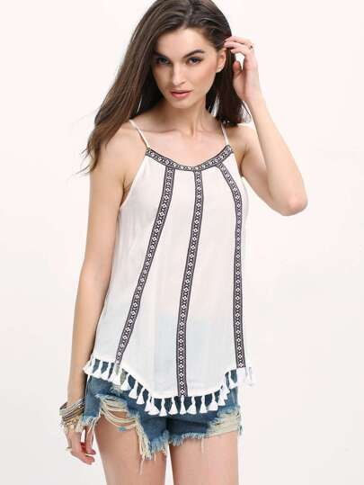 White Tassel Hem Cutaway Vintaged-print Panel Cami Top