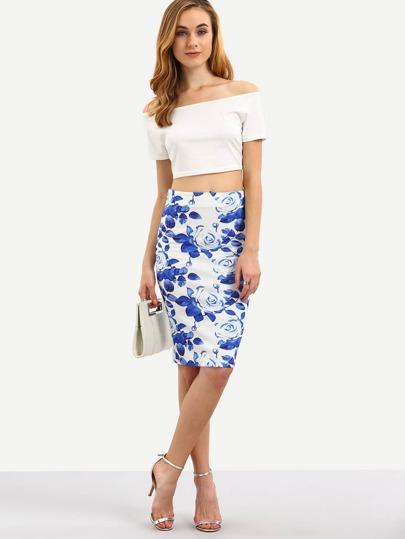 Модная юбка с цветочным принтом с разрезом