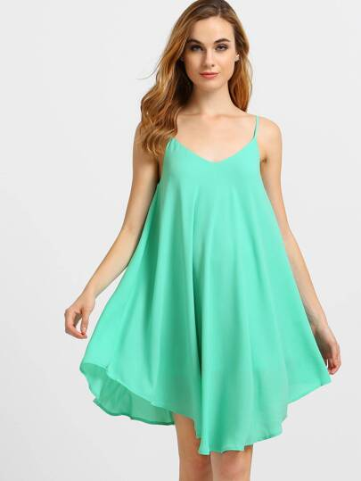 Green Spaghetti Strap Asymmetrical Shift Dress Sundresses