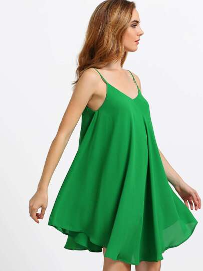 Glass Green Spaghetti Strap Asymmetrical Shift Dress Sundresses