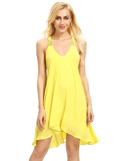 Yellow Sleeveless Backless Romantic Loved Lolita Pleated Dress