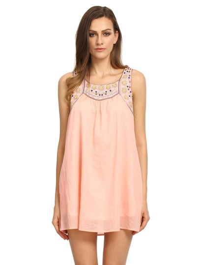 Pink Poplin Sleeveless Tribal Embroidered Dress