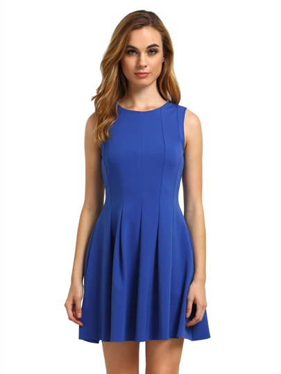 Ocean Blue Round Neck Sleeveless Pleated Flare Dress