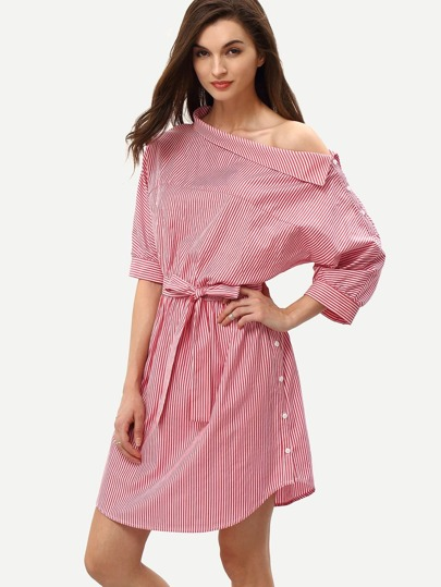 Red Periwinkle Shouldered Half Sleeve Off The Shoulder Striped Dress