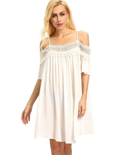 White Spaghetti Strap Panelled Off The Shoulder With Lace Dress