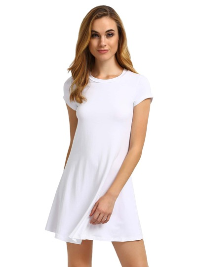 White Short Sleeve Shirt Cut Swing Dress
