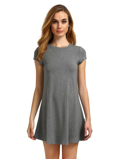 Heather Grey Jersey Flare Tee Dress