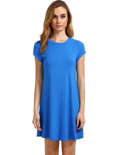 Blue Short Sleeve Shirt Cut Swing Dress