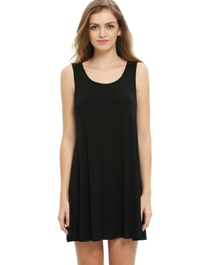 Black Sleeveless Casual Shift Dress