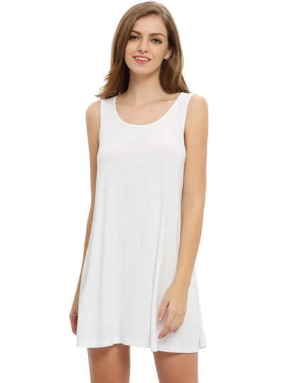 White Sleeveless Casual Shift Dress