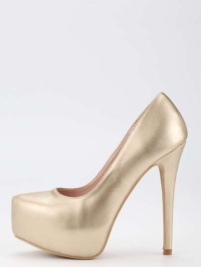 Gold Faux Leather Platform Pumps