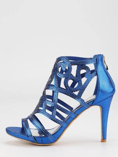 Blue Faux Suede Laser-Cut Peep Toe Sandals