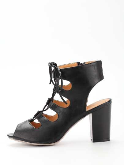 Lace-Up Block Heel Pumps - Black