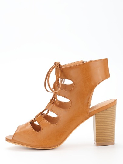 Lace-Up Block Heel Pumps - Camel