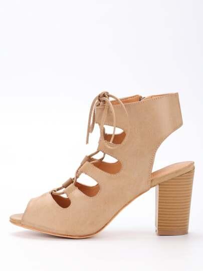 Sandales à talon avec lacets - blanc cassé