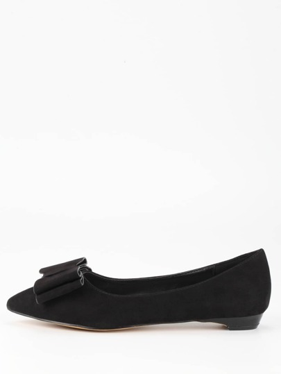 Bow Tie Pointed Toe Flats - Black