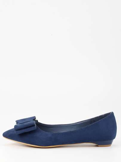 Bow Tie Pointed Toe Flats - Blue