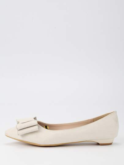 Bow Tie Pointed Toe Flats - Beige