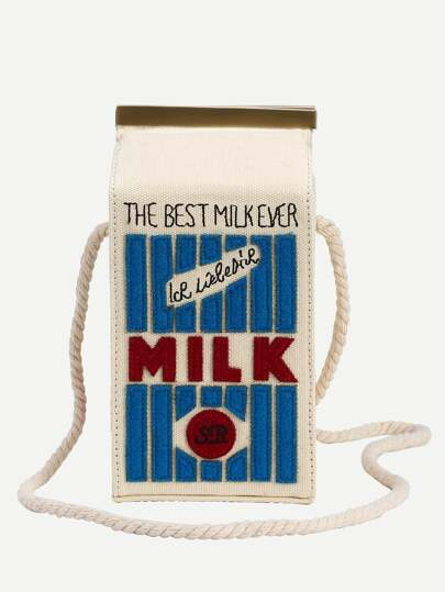 White Milk Cartons Shoulder Bag
