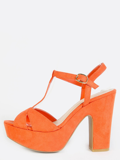 Platform Ankle Strap Chunky Heels ORANGE