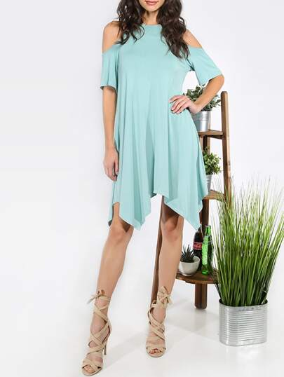 Green Cold Shoulder Asymmetrical Shift Dress