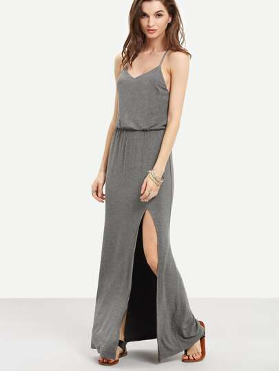 Grey Sleeveless Criss Cross Back Split Dress