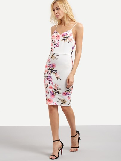 Multicolor Spaghetti Strap Floral Sheath Dress