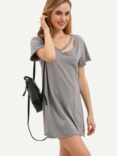 Dark Grey Short Sleeve Hollow T-shirt Dress