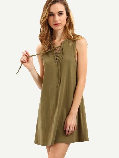 Vestido sin manga cordón -verde militar