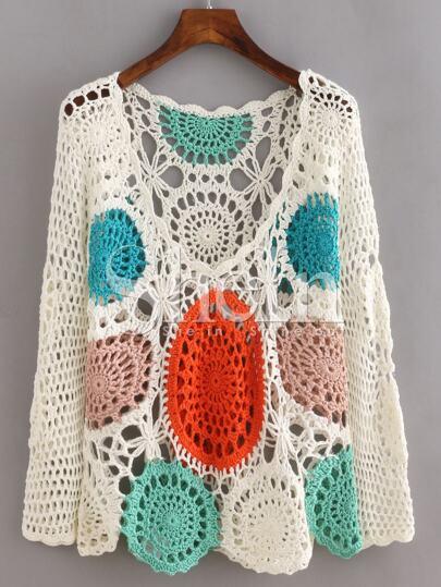 Multicolor Long Sleeve Scoop Neck Crochet Sweater