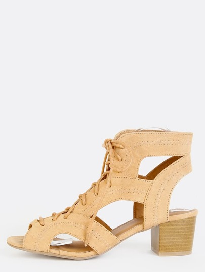 Faux Suede Cut Out Sandals TOFFEE