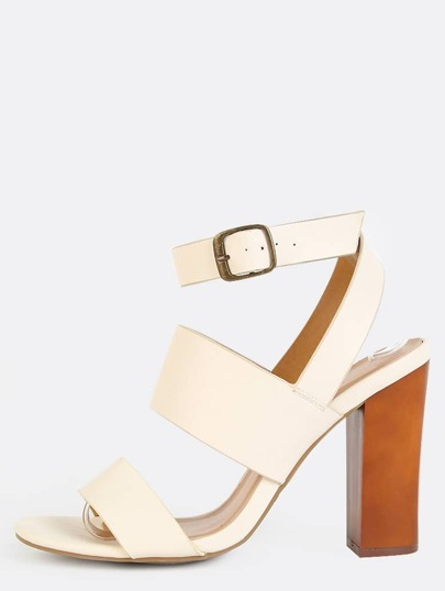 Wrap Around Ankle Strap Chunky Heels IVORY