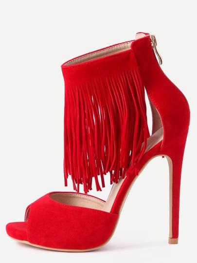 Red Faux Suede Fringe Platform High Heels
