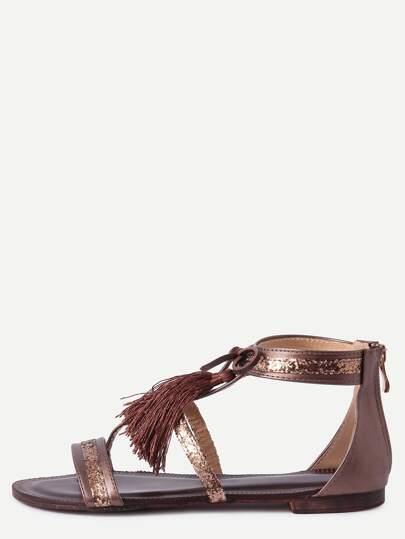 Bronzer Fringe Flat Sandals